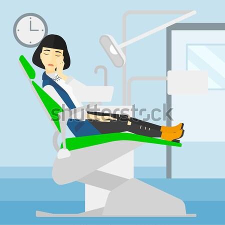 Stock fotó: Nő · szenvedés · fogászati · szék · beteg · ül