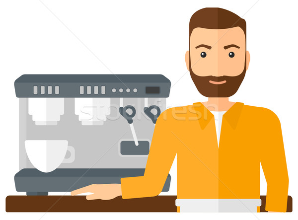 Сток-фото: Бариста · Постоянный · кофеварка · борода · вектора · дизайна