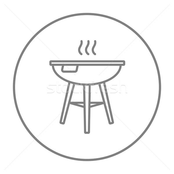 Bogrács barbecue grill vonal ikon háló mobil Stock fotó © RAStudio