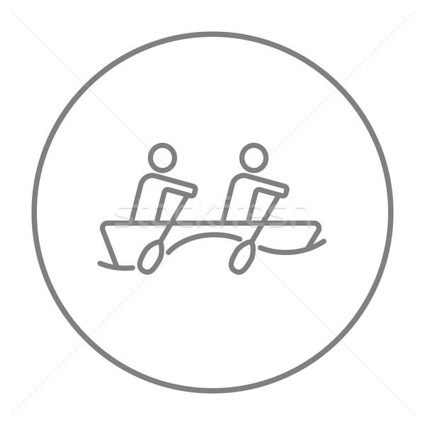 Tourists sitting in boat line icon. Stock photo © RAStudio
