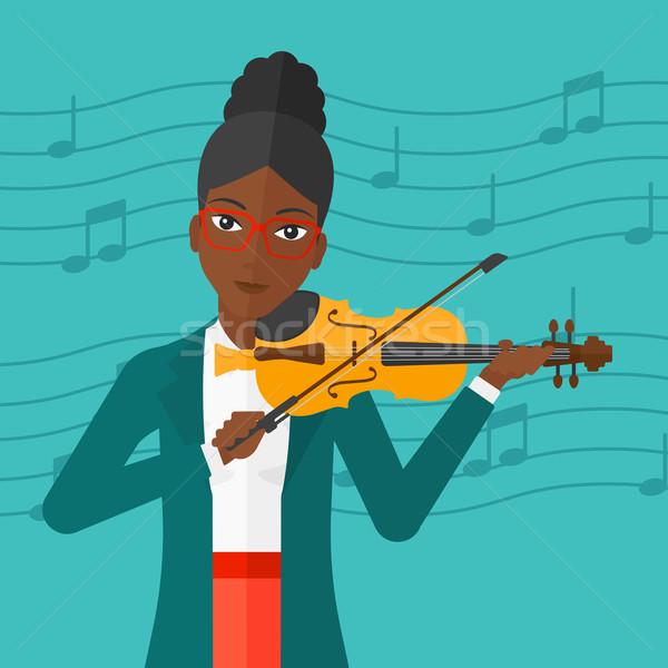 Foto stock: Mujer · jugando · violín · azul · notas · musicales · vector