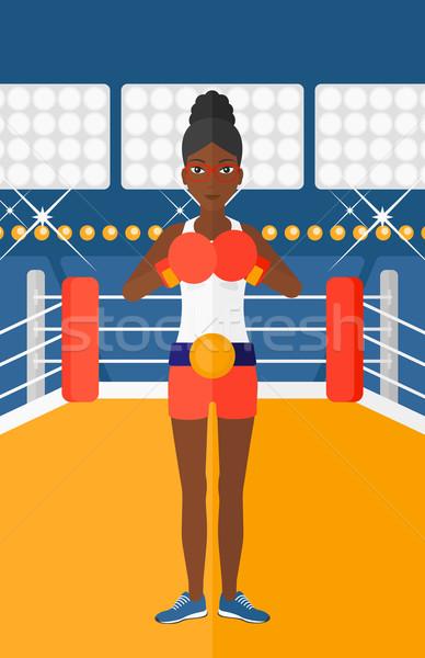 Боксер перчатки женщину кольца вектора дизайна Сток-фото © RAStudio