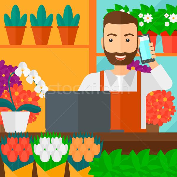 Virágárus elvesz rendelés hipszter férfi szakáll Stock fotó © RAStudio