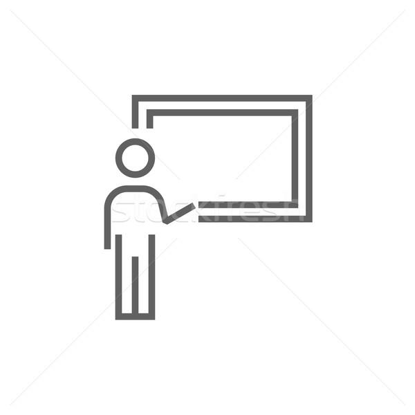 Profesor wskazując tablicy line ikona Zdjęcia stock © RAStudio
