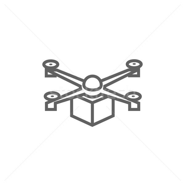 Drone delivering package line icon. Stock photo © RAStudio