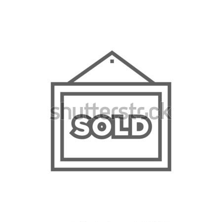 Uitverkocht lijn icon hoeken web Stockfoto © RAStudio