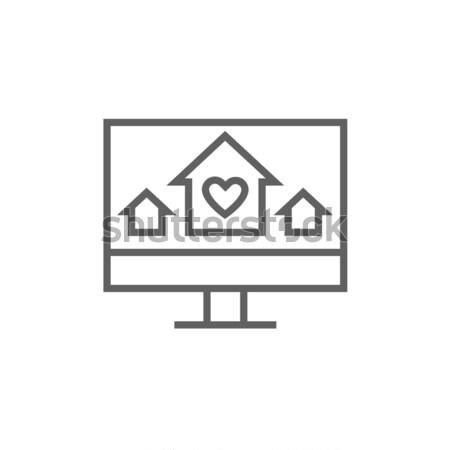 Stock photo: Smart house technology line icon.