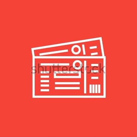 Bilhetes linha ícone teia móvel Foto stock © RAStudio