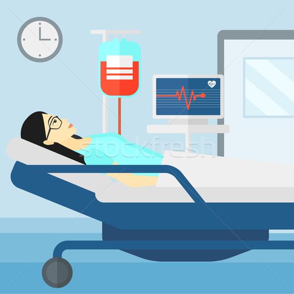 Beteg kórházi ágy ázsiai nő kórház szívritmus Stock fotó © RAStudio