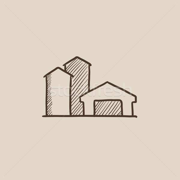 Farm buildings sketch icon. Stock photo © RAStudio