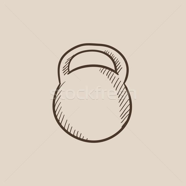Kettlebell rajz ikon háló mobil infografika Stock fotó © RAStudio