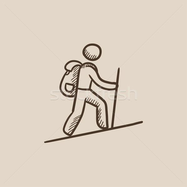 Tourist backpacker sketch icon. Stock photo © RAStudio