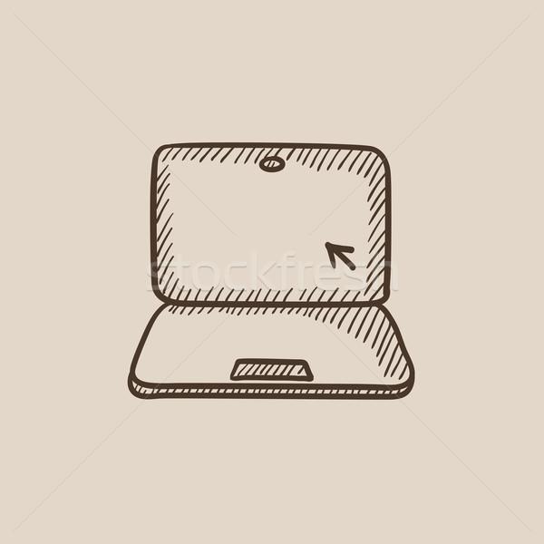 ноутбука курсор эскиз икона экране веб Сток-фото © RAStudio