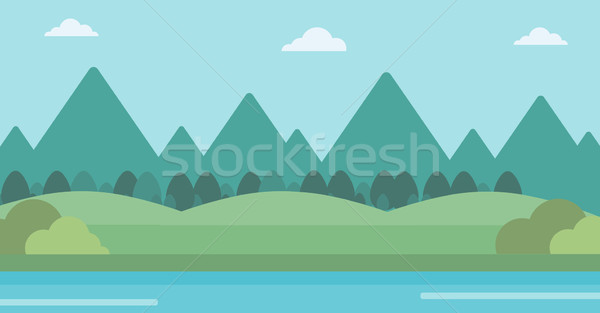 Stock photo: Background of landscape with mountains and river.