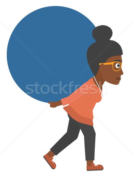 Woman carrying big ball. Stock photo © RAStudio