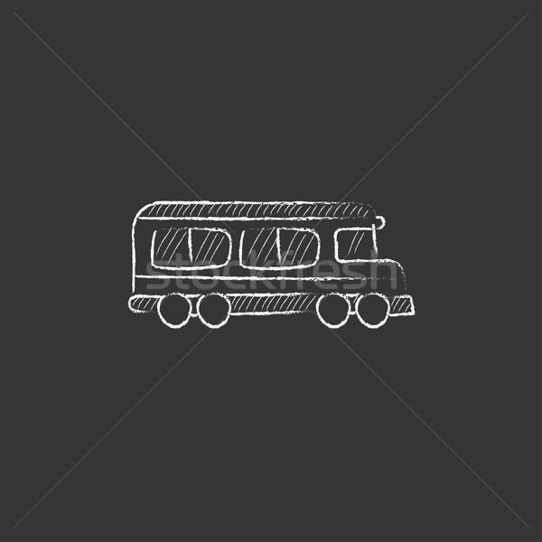 Okul otobüsü tebeşir ikon vektör Stok fotoğraf © RAStudio