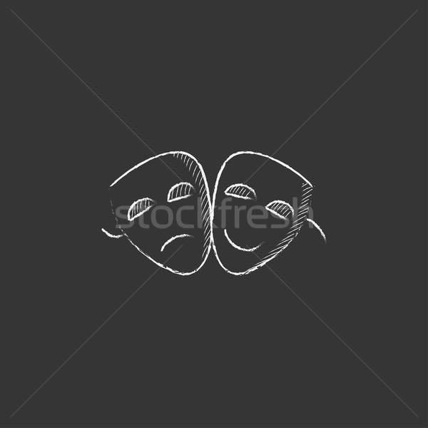 Two theatrical masks. Drawn in chalk icon. Stock photo © RAStudio