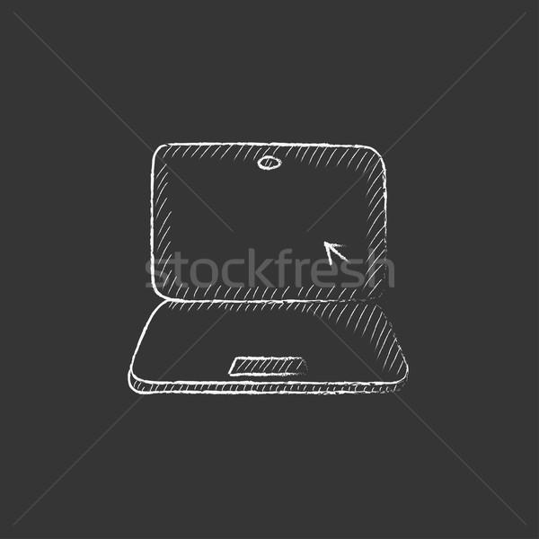 Laptop kurzor rajzolt kréta ikon képernyő Stock fotó © RAStudio