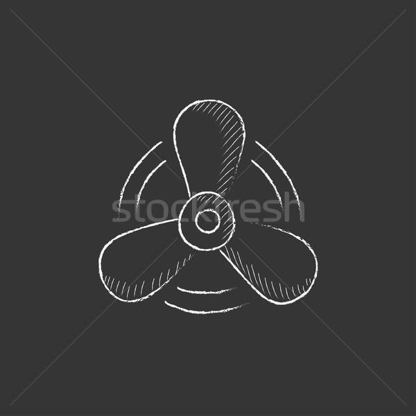 Boat propeller. Drawn in chalk icon. Stock photo © RAStudio