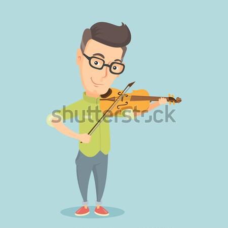 Férfi játszik hegedű hipszter szakáll vektor Stock fotó © RAStudio