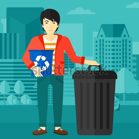 Woman with recycle bins. Stock photo © RAStudio