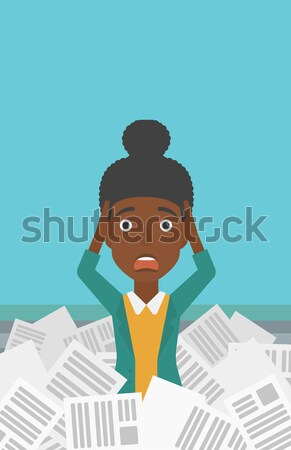 Stock photo: Woman in stack of newspapers.