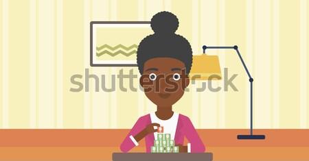 Verbinding vrouw piramide woonkamer Stockfoto © RAStudio