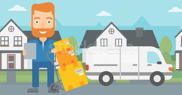 Man delivering boxes. Stock photo © RAStudio