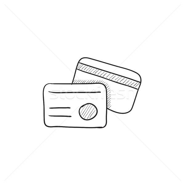 Identificación tarjeta boceto icono vector aislado Foto stock © RAStudio