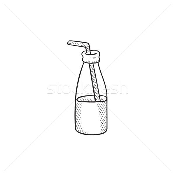 Foto stock: Vidrio · botella · potable · paja · boceto · icono