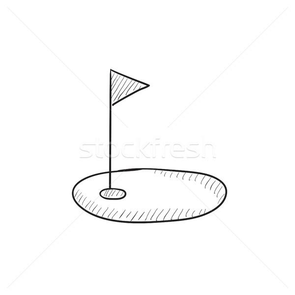 гольф дыра флаг эскиз икона вектора Сток-фото © RAStudio