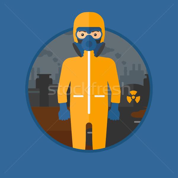 Uomo radiazione suit indossare maschera antigas nucleare Foto d'archivio © RAStudio