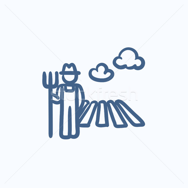 Farmer with pitchfork at field sketch icon. Stock photo © RAStudio