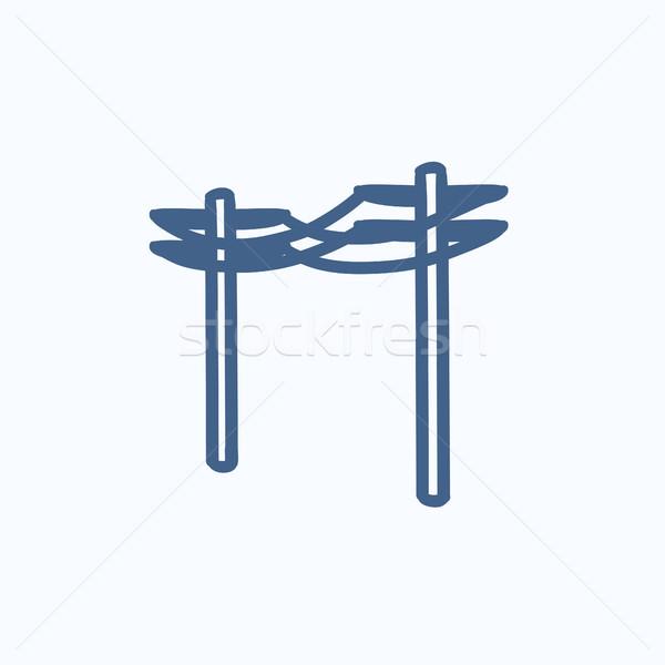 высокое напряжение эскиз икона вектора изолированный Сток-фото © RAStudio
