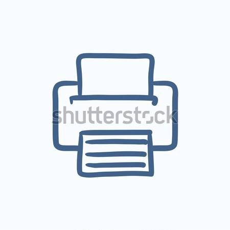 Drukarki szkic ikona wektora odizolowany Zdjęcia stock © RAStudio