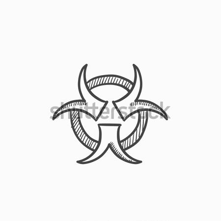 Bio veszély felirat rajz ikon vektor Stock fotó © RAStudio