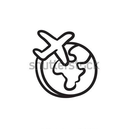 Сток-фото: самолет · Flying · вокруг · Мир · эскиз · икона