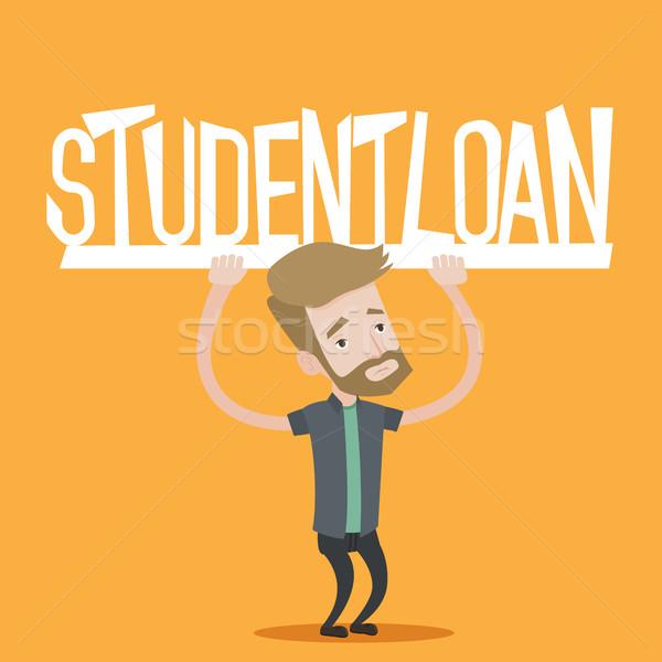 Student holding sign of student loan. Stock photo © RAStudio
