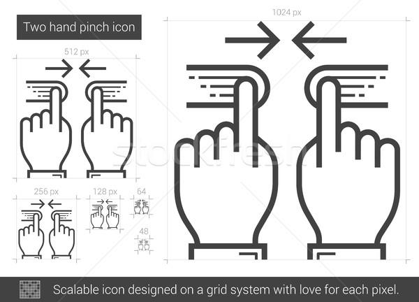 Two hand pinch line icon. Stock photo © RAStudio