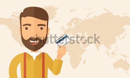 üzletember tart hitelkártya boldog hipszter kaukázusi Stock fotó © RAStudio