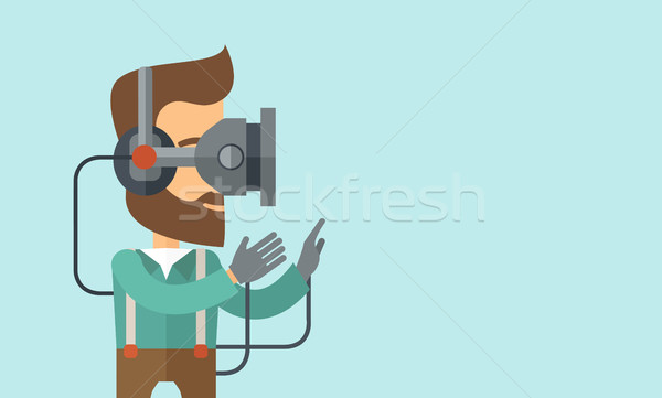 Man with virtual reality headset Stock photo © RAStudio