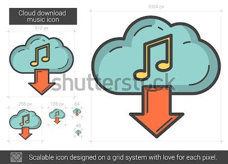 Wolke download Musik line Symbol Vektor Stock foto © RAStudio