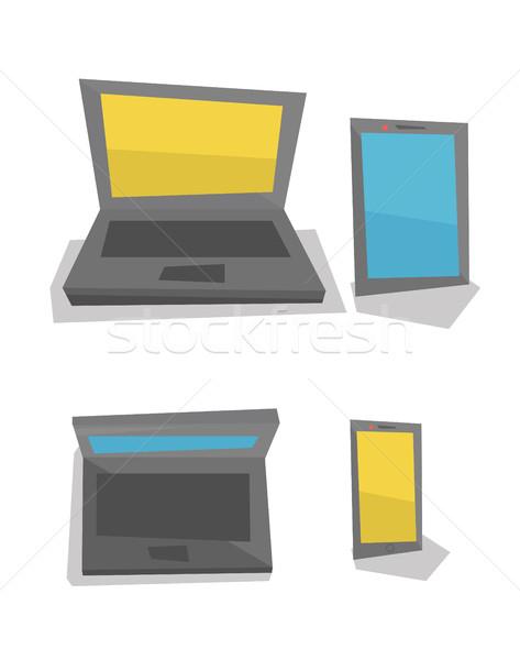 Elektronik hareketlilik dizüstü bilgisayar telefon Stok fotoğraf © RAStudio