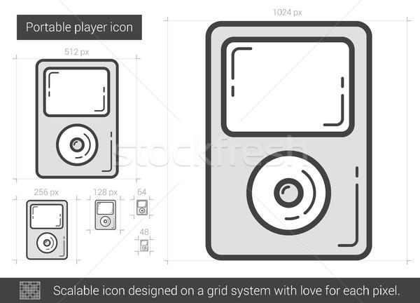 Stockfoto: Draagbaar · speler · lijn · icon · vector · geïsoleerd