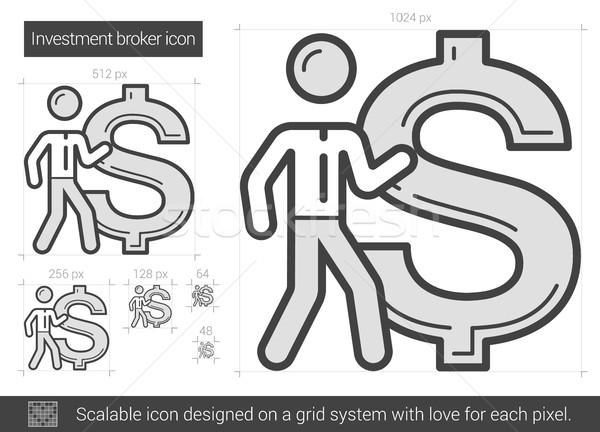 Inwestycja pośrednik line ikona wektora odizolowany Zdjęcia stock © RAStudio