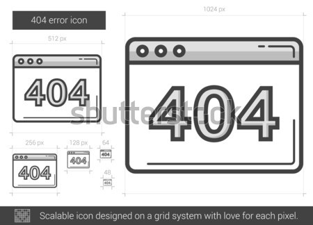 Web fout lijn icon 404 vector Stockfoto © RAStudio