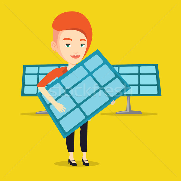 Woman holding solar panel vector illustration. Stock photo © RAStudio