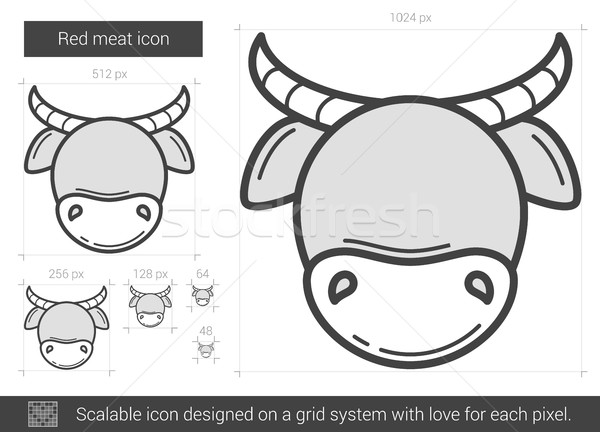 Red meat line icon. Stock photo © RAStudio