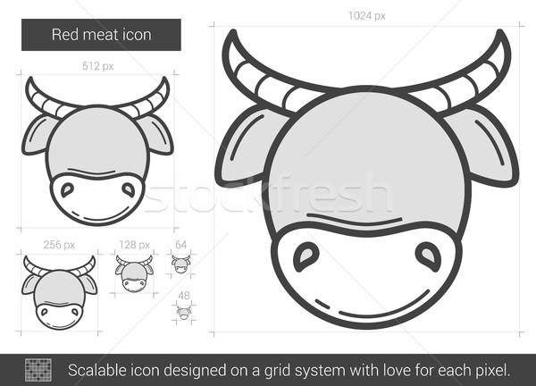 Red meat line icon. Stock photo © RAStudio
