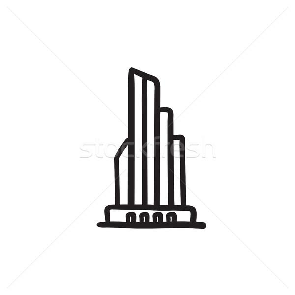 Arranha-céu prédio comercial esboço ícone vetor isolado Foto stock © RAStudio